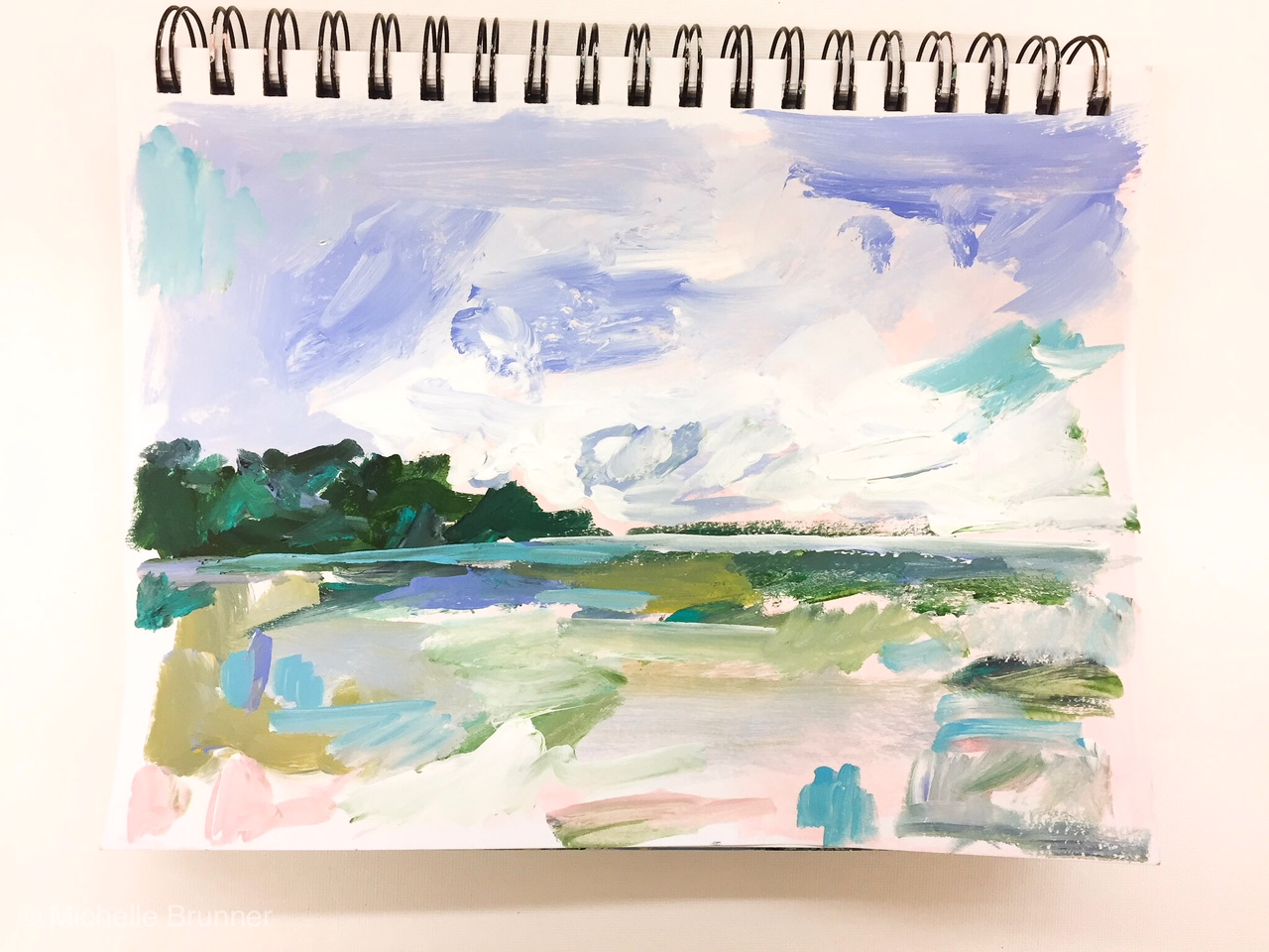 Working in a small sketchbook allows me to play around and experiment with different subject matter and styles. This is an example of a very quickly painted sketchbook.