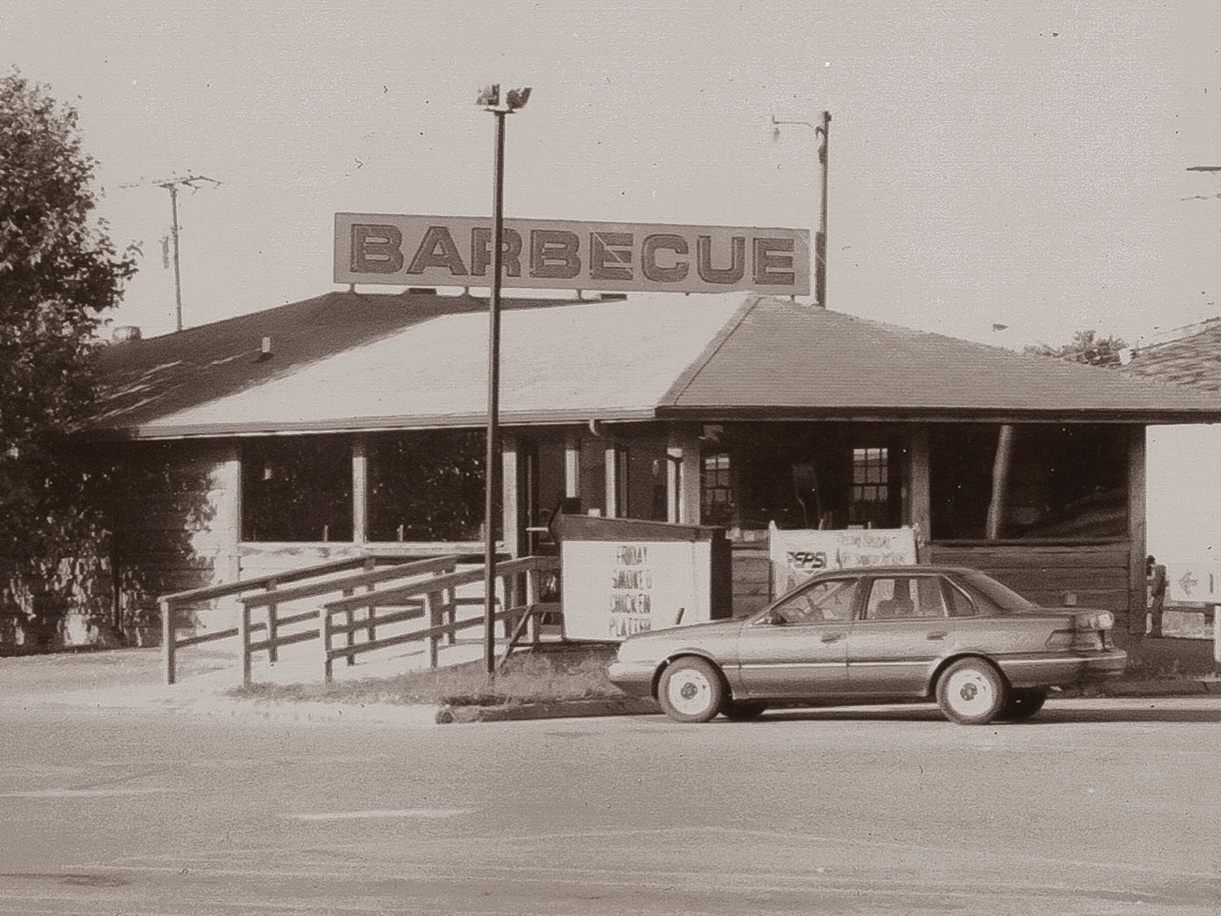 1984 - THE SECOND RICK'S BARBECUE WAS ALSO OPENED IN LAWRENCEBURG, TN10 YEARS AFTER ORIGINALLY OPENING IN KMART PLAZA PARKING LOT, THE LOG BUILDING WAS RELOCATED TO 1001 NORTH MILITARY STREET