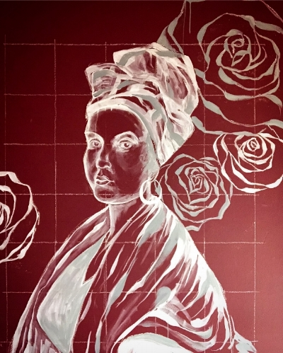 Mural detail. Portrait of Marie Laveau based Frank Schneider's copy of a now-lost 1835 original by George Catlin.