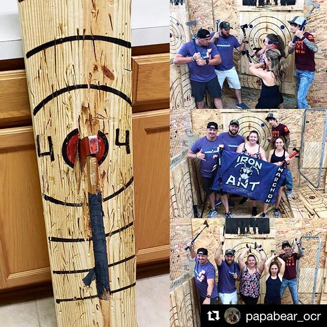 Iron Ant shenanigans 🐜🎯@papabear_ocr ・・・ A little fun with the @ironantfitness crew tonight. Next weekend these guys will be taking on @savagerace in Dade City. . . . #raideraxelodge #RAL #axethrowing #axe #savagerace #savagevolunteers #savage #savagesyndicate #IronAntFitness #MarchOn #NoExuses #tampabay #tampa #repost