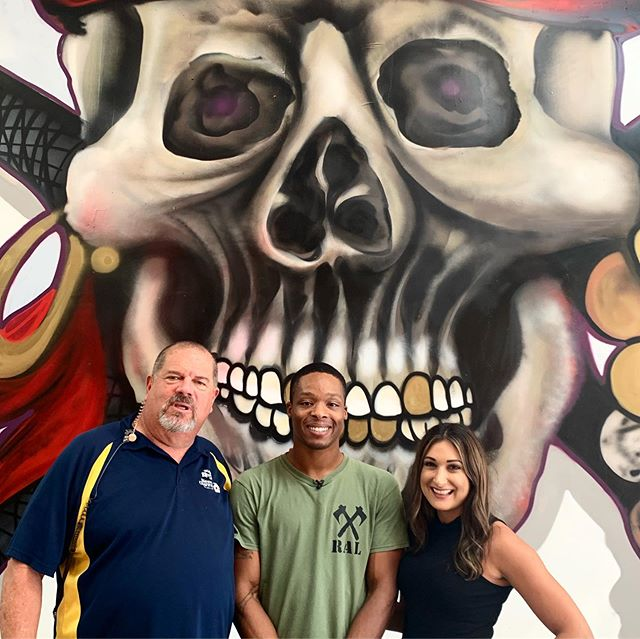 No newscasters were hurt in the making of this show. 😬 — Live News with @wfla Lila Gross was a blast! Cheers to Moe for choosing to shoot here on his last day! — Mural by @artist_esh — #raideraxelodge #RAL #axethrower #axethrowing #tampa #tampabay