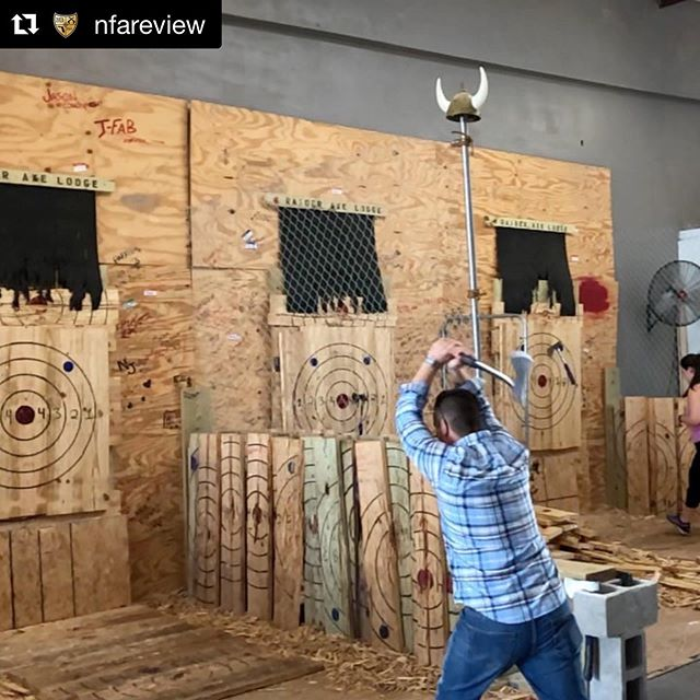 Thanks for choosing to throw down at #RaiderAxeLodge @nfareview! ・・・ Happy Birthday @m_kleppy love ya bro! Good times at @raideraxelodge and @worldofbeer #nfareview #tampa #birthday #goodtimes #throwaxes #axethrowing #funtimes #axetogrind #bullseye #akimboaxethrow 👉Check out @nfareview for more 📸