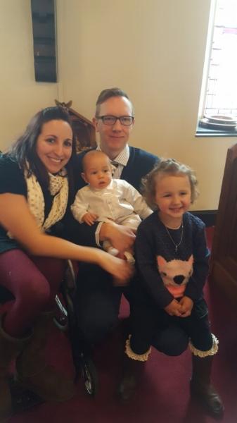 One Week After ER Visit: Holding it together for the boy's Baptism.