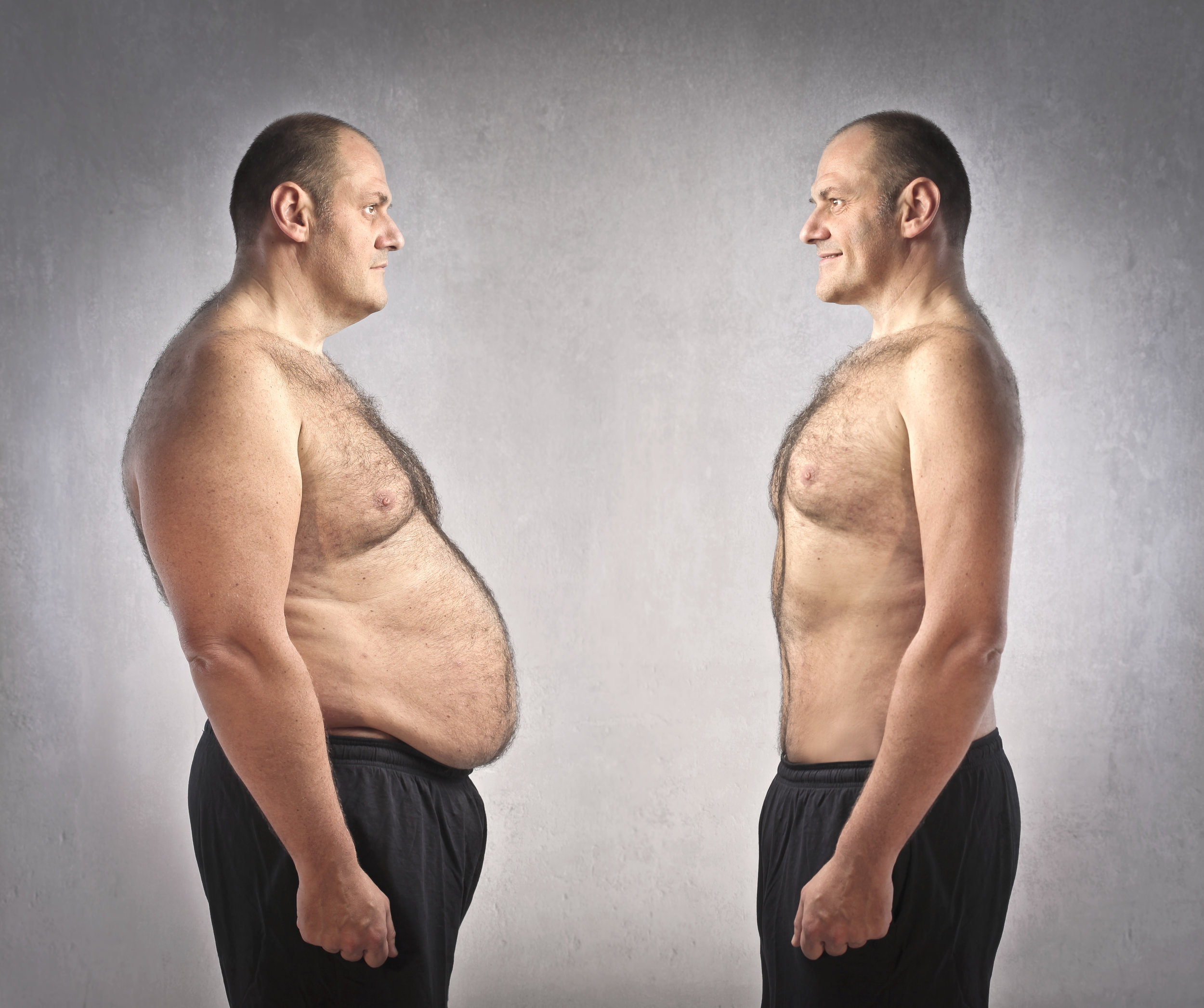 Obese and Fit person comparatively standing side by side.