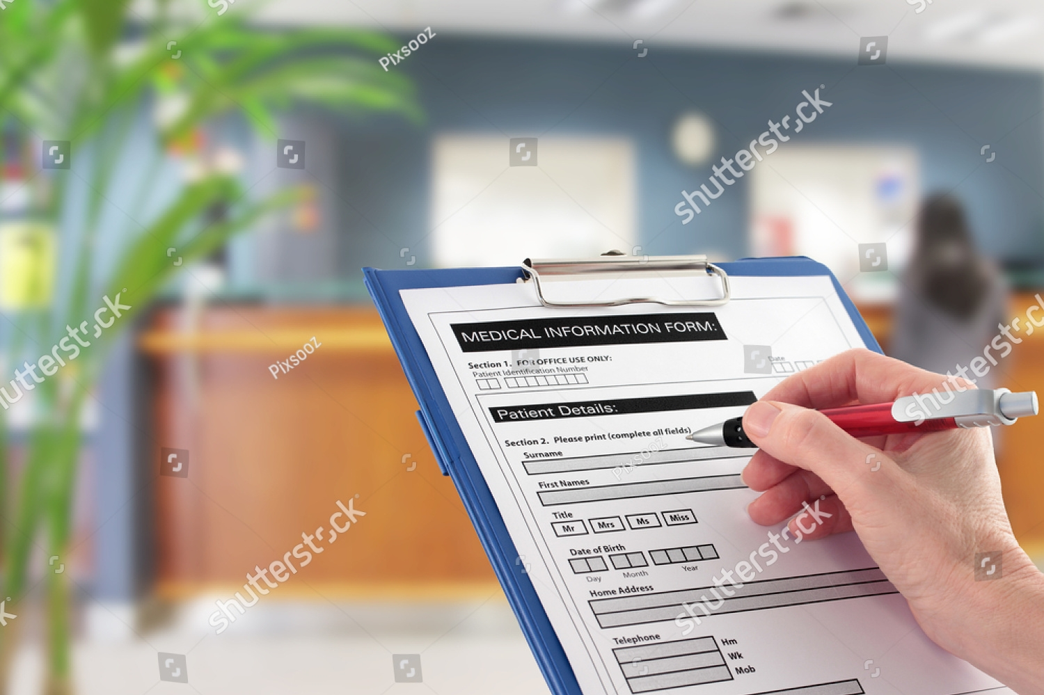 Patient filling out forms at Pearson Family Chiropractic in Palm Cost, FL USA