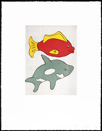 Two Fishes, 1999. Soft-ground etching and aquatint. Plate size: 12 x 9 in.Sheet size: 22 x 17 in. Edition of 34. Paper: Magnani Pescia. Plates processed and printed by Felix Harlan, Carol Weaver and Maggie Wright, New York.