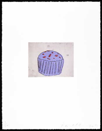 Blue Muffin, 1999. Soft-ground etching and aquatint. Plate size: 8 x 6 in. Sheet size: 22 x 17 in.  Edition of 34. Paper: Magnani Pescia. Plates processed and printed by Felix Harlan, Carol Weaver and Maggie Wright, New York.