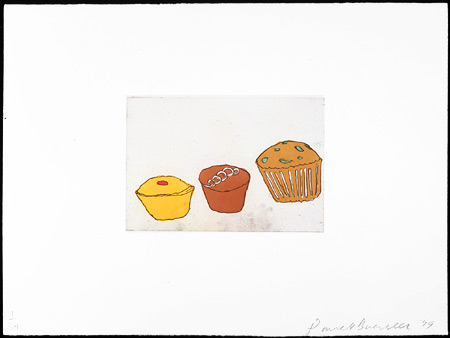 Cup Cakes + Muffin, 1999. Soft-ground etching and aquatint. Plate size: 9 x 13 1/4in. Sheet size: 22 x 30 in. Edition of 34. Paper: Magnani Pescia. Plates processed and printed by Felix Harlan, Carol Weaver and Maggie Wright, New York.