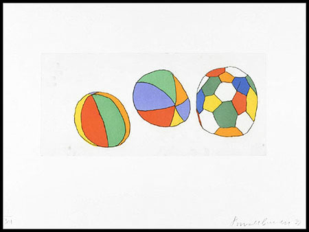 3 Balls, 1999.Soft-ground etching and aquatint. Plate size: 10 x 22 in. Sheet size: 22 x 30 in. Edition of 34. Paper: Magnani Pescia. Plates processed and printed by Felix Harlan, Carol Weaver and Maggie Wright, New York.