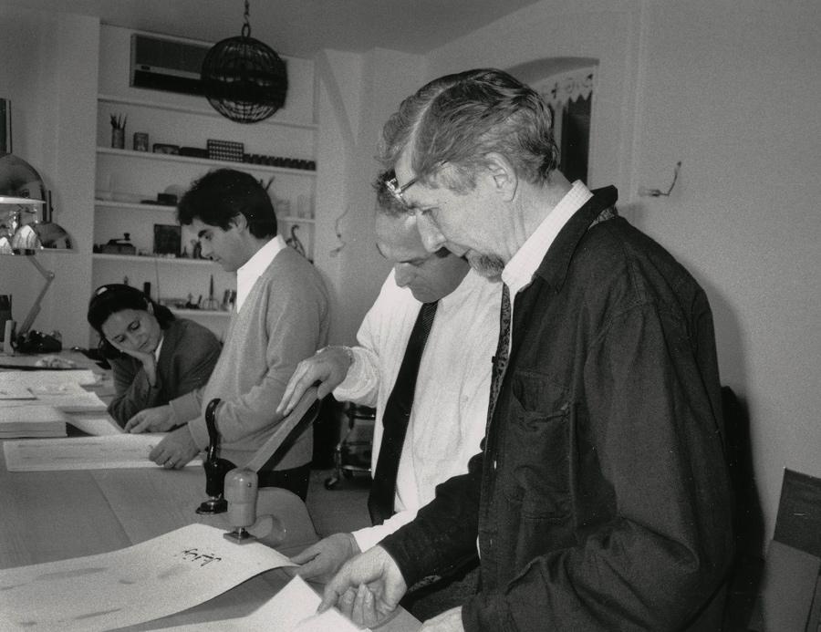 Elise Boisante, Mark Baron, with Not Vital and Piero Crommelynck, working on El Maktoub Maktoub.