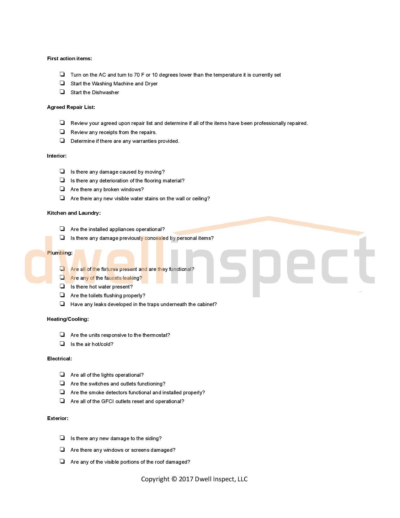 Final Walkthrough Checklist