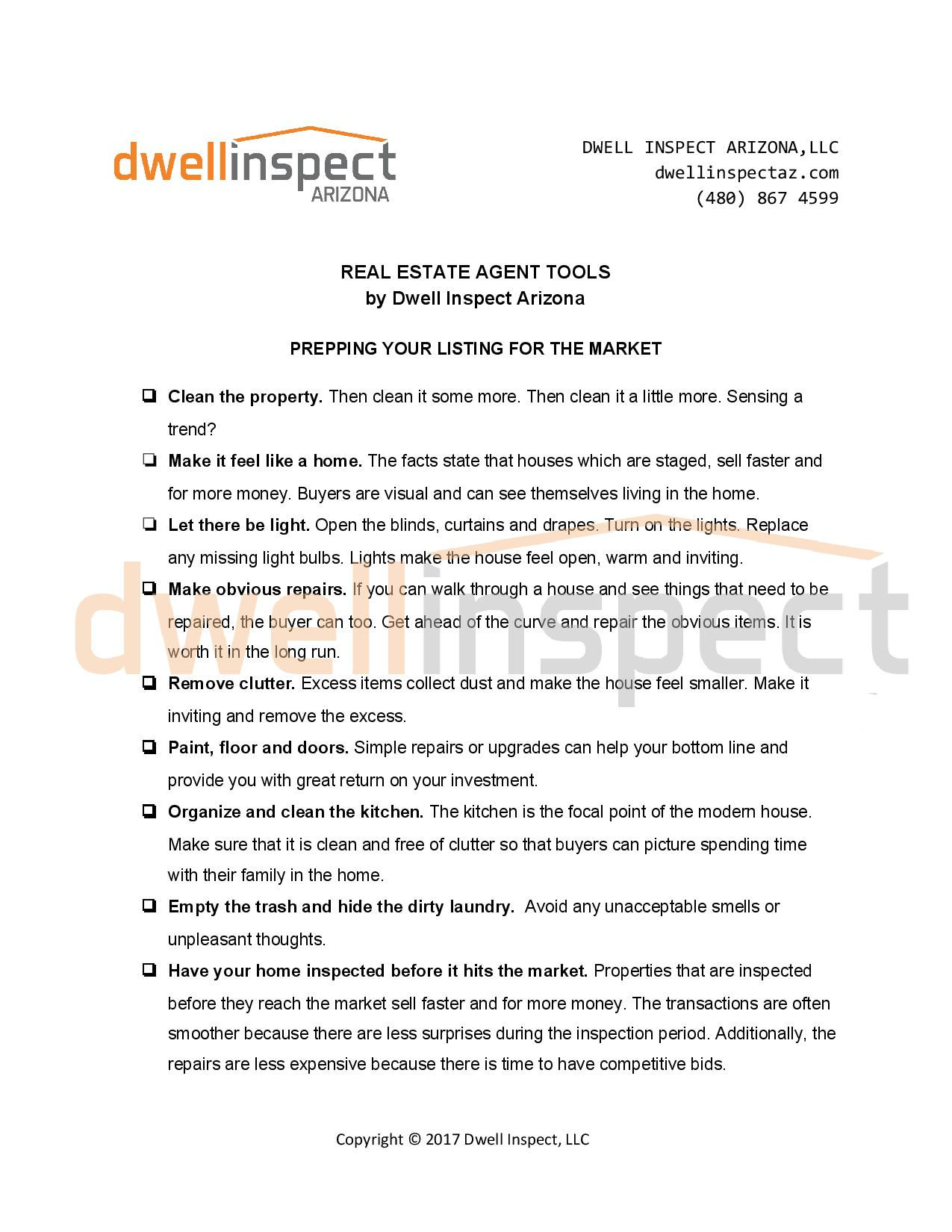 Prepping your listing Dwell Inspect Arizona