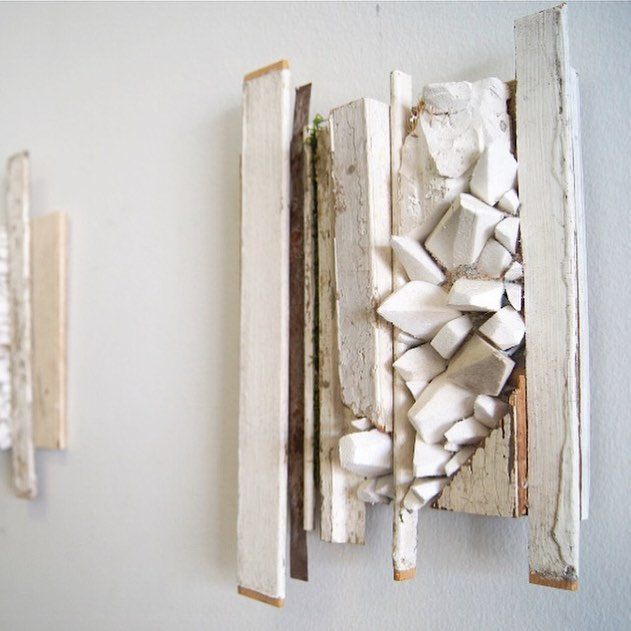 "Untitled  wood, steel, plaster, styrofoam, salt 10x12x2"" currently on view @portico3807"
