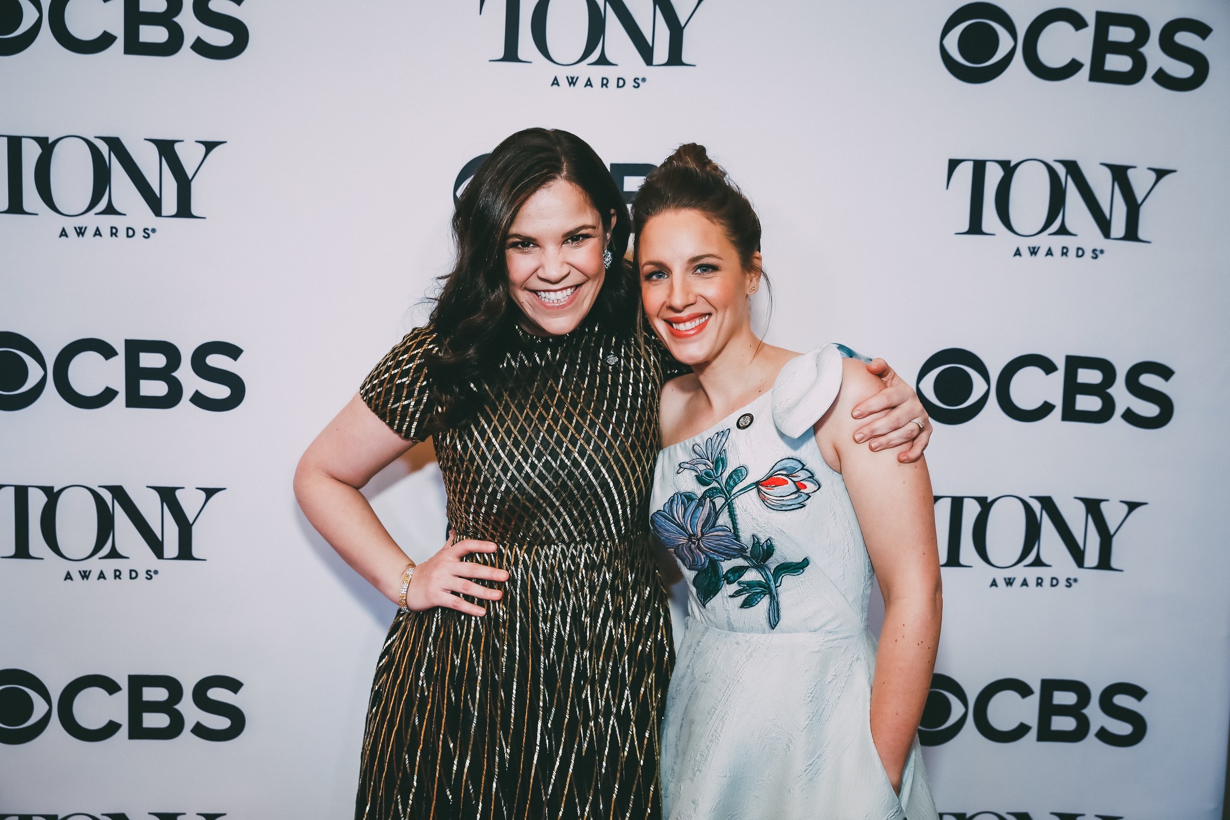 Lindsay Mendez and Jessie Mueller at the 2018 Tony Award Nominees Press Junket by Emilio Madrid-Kuser.jpg