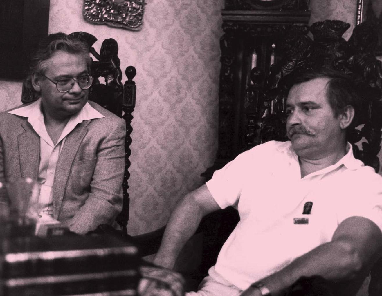 Austrian politician Erhard Busek meets Lech Walesa in 1981 encouraging the Solidarity movement.
