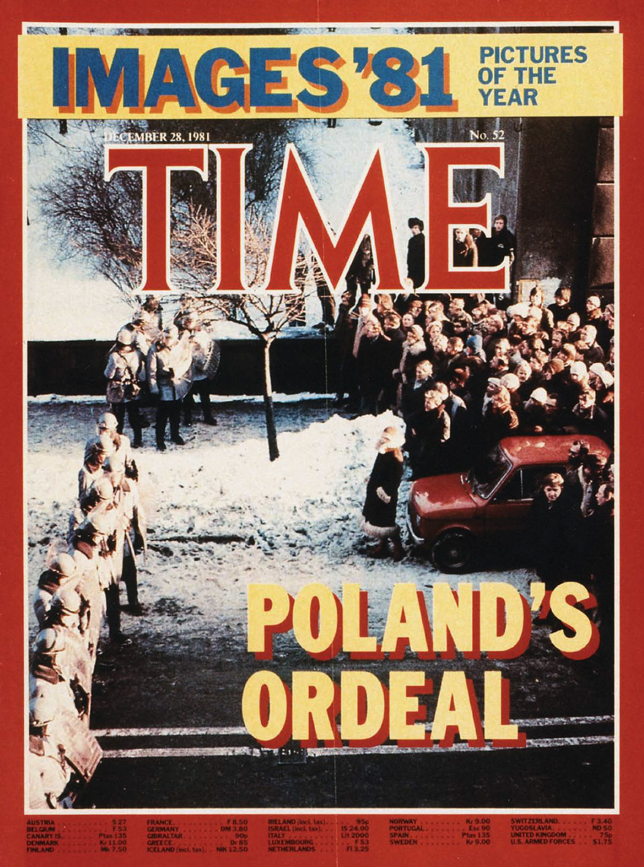 """This picture was taken by Otmar Lahodynsky, the correspondent of the Austrian newsmagazine  Profil , on December 13, 1981, the day Poland came under martial law.  The """"Zomo"""" special police forces are cordoning off Solidarity headquarters in Warsaw. In spite of a total news blackout, the photo was privately smuggled out of Warsaw to Vienna and came via Paris on a """"Concorde"""" jet to New York to appear on the cover of TIME magazine 2 weeks later."""