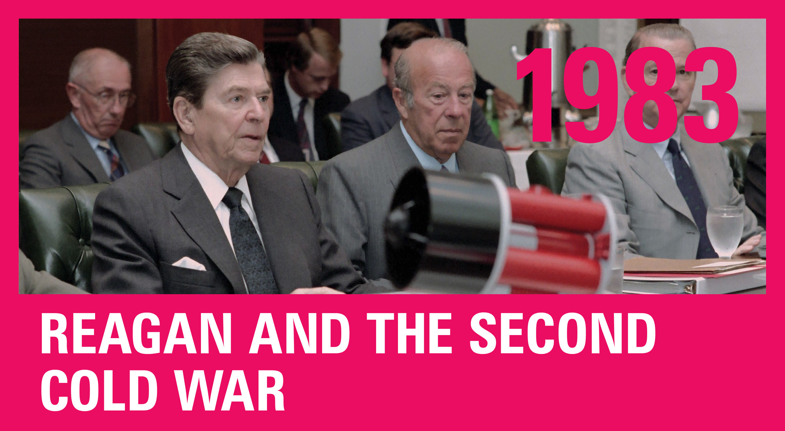 President Reagan, Secretary of State George Shultz, and James Baker, Reagan's chief-of-staff, in a meeting on the Strategic Defense Initiative. SDI was a announced by President Reagan on March 23, 1983, before a national TV audience. It wanted to use ground and space-based systems to protect the U.S. from attack by strategic nuclear ballistic missiles. The initiative focused on strategic defense rather than the prior strategic offense doctrine of mutual assured destruction (MAD).