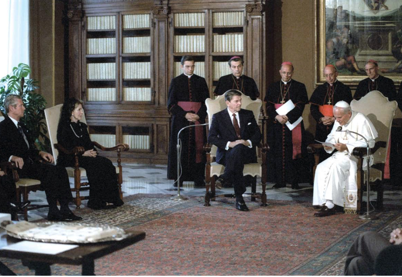 President and Mrs. Reagan visit Pope John Paul II in the Vatican on June 7, 1982. Reagan's CIA Director William Casey worked with the Vatican  in secretly supporting the Solidarity movement.