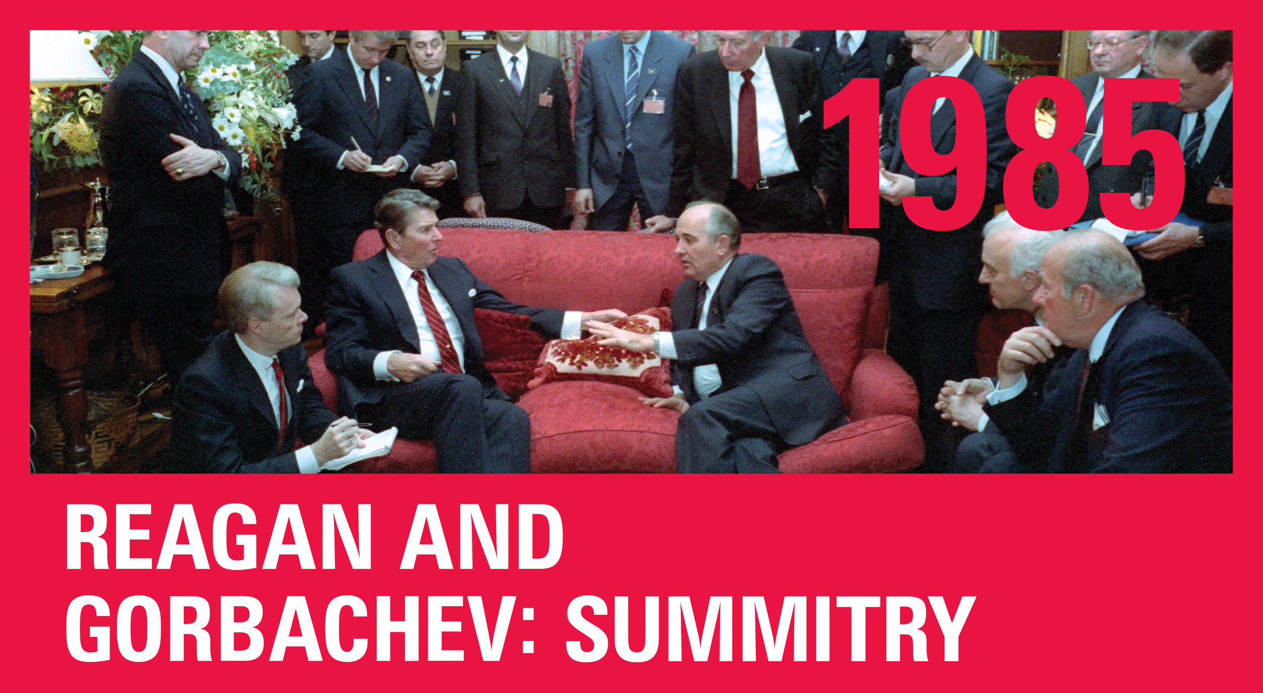 President Reagan meeting with Soviet General Secretary Gorbachev with their staffs at Maison de Saussure during the Geneva Summit on November 20, 1985.