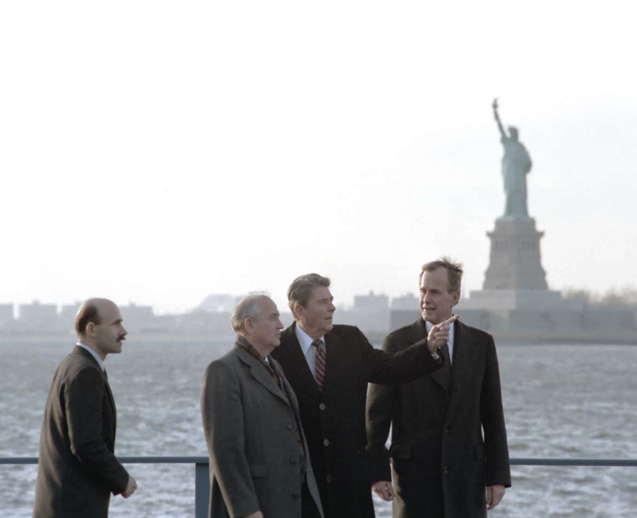 President Reagan, Vice-President Bush meet with Soviet General Secretary Gorbachev on Governor's Island, New York 12/7/88.