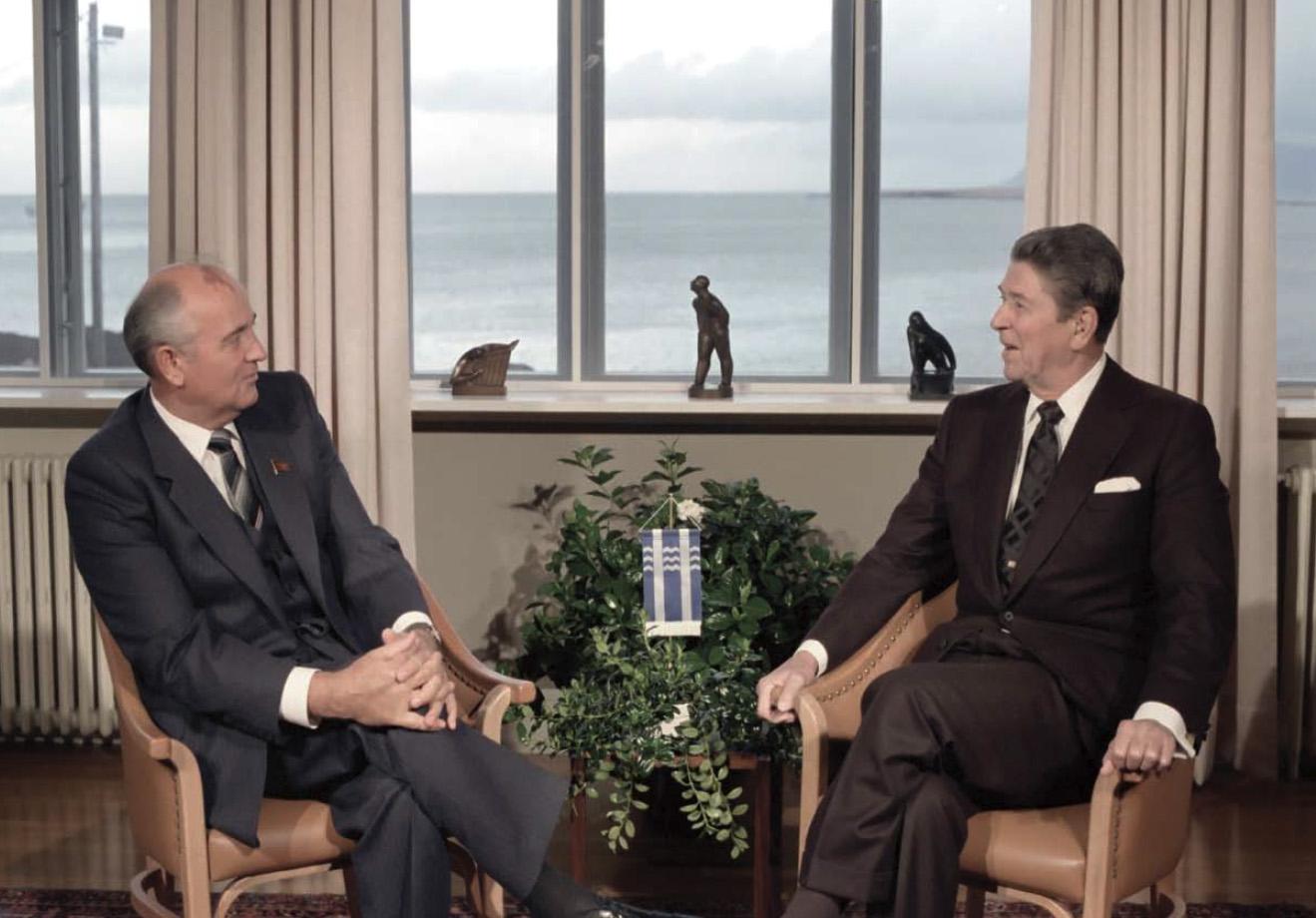 President Reagan meeting with Soviet General Secretary Gorbachev at Hofdi House during the Reykjavik Summit in Iceland on October 11, 1986.