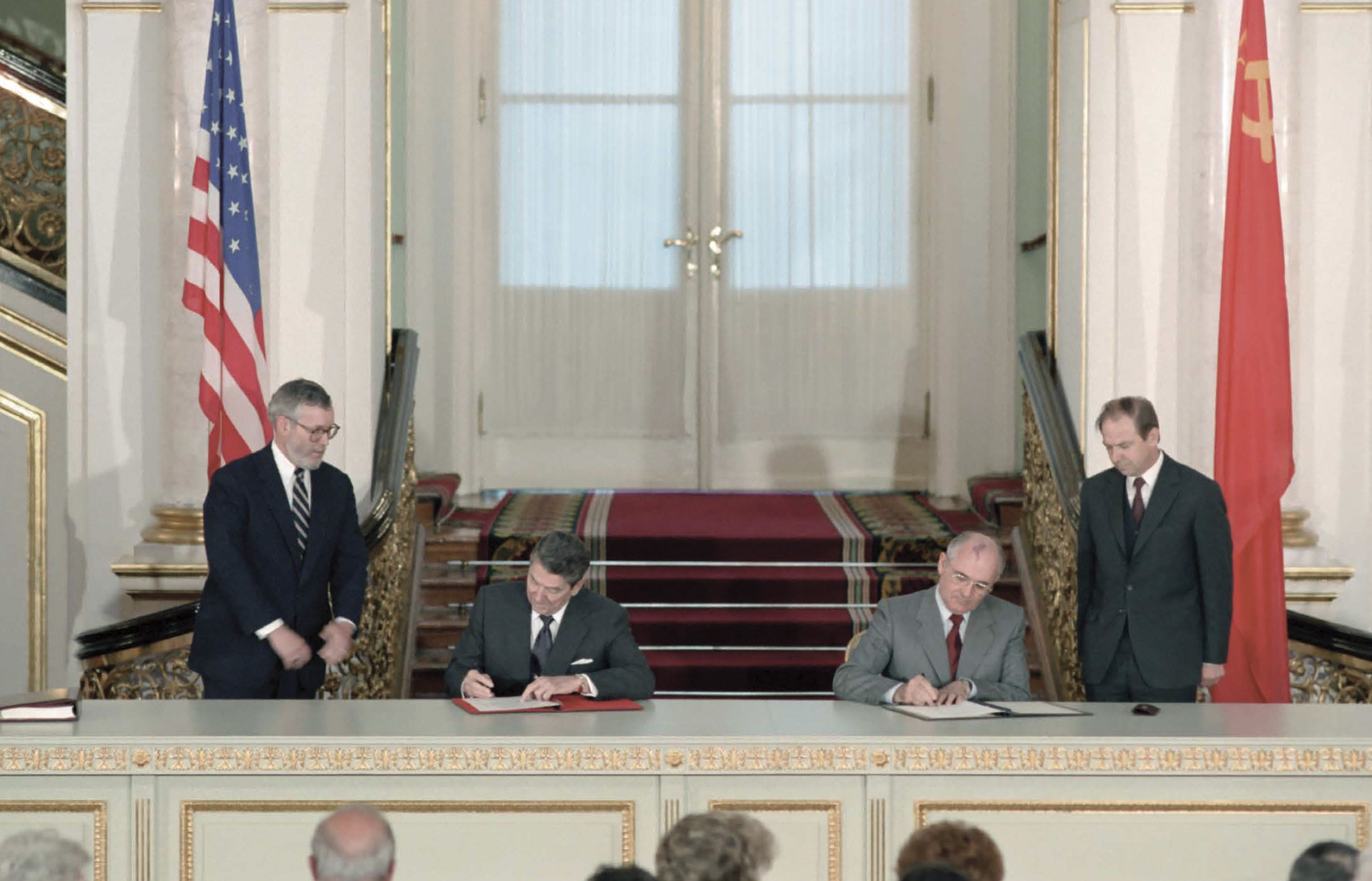 President Reagan and Soviet General Secretary Gorbachev are signing the INF treaty ratification at the Grand Kremlin Palace during the Moscow Summit on June 1, 1988. By the treaty's deadline of June 1, 1991, a total of 2,692 of short and intermediate range ground launched missiles had been destroyed, 846 by the U.S. and 1,846 by the Soviet Union.  This was much more unequal in number of INF warheads destroyed. Under the treaty both nations were allowed to inspect each other's military installations.