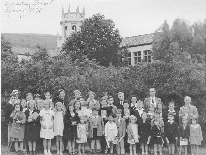 Sunday School students and teachers outside of the Malaga Cove School, 1936 Courtesy Neighborhood Church Historical Archives