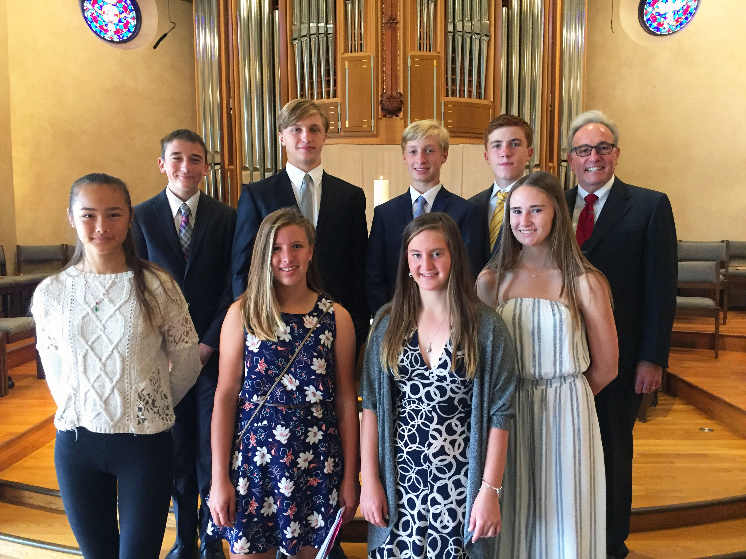 Our 2017 Confirmand Class and Rev. Dr. David D. Young.