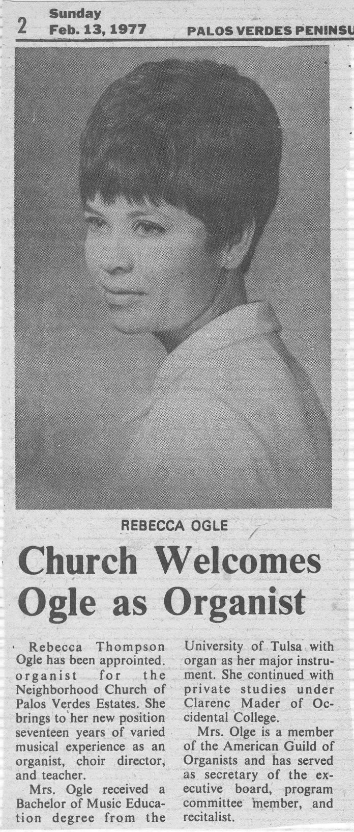 Article from Palos Verdes Peninsula News, February 13, 1977 announcing Becky's hire at the Neighborhood Church. (Click photo to enlarge)