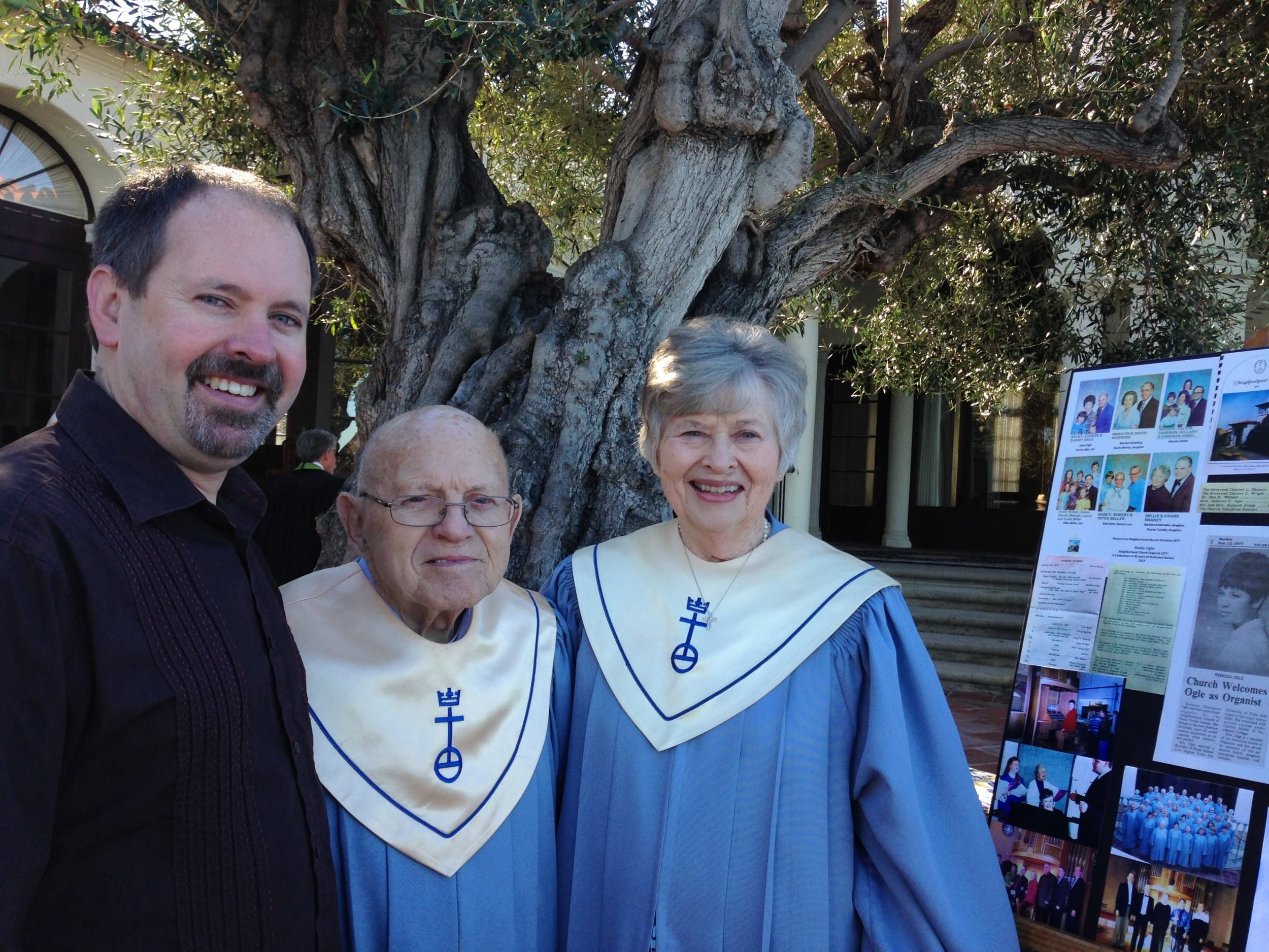 Danny, Becky and Gene at the church reception honoring Becky in February, 2017