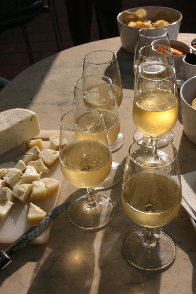 Vernaccia with fresh pecorino cheese.