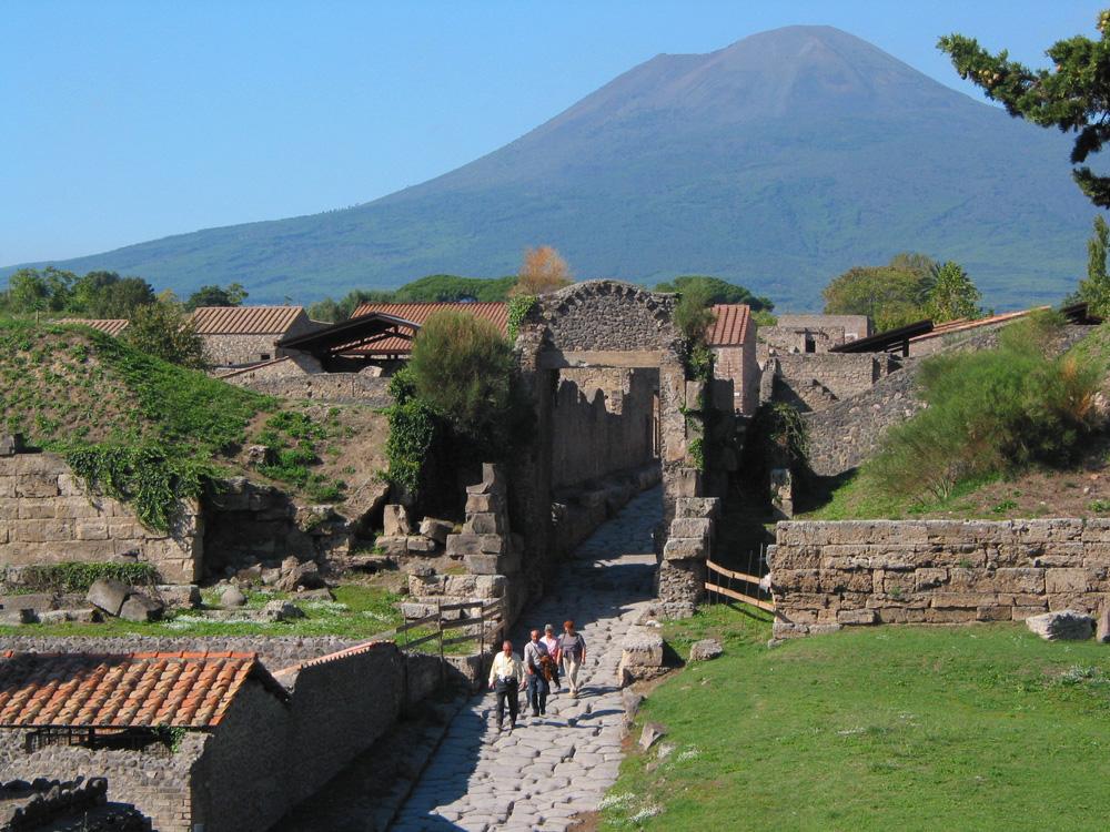 Pompeii's Porta di Nocara, with Vesuvius behind