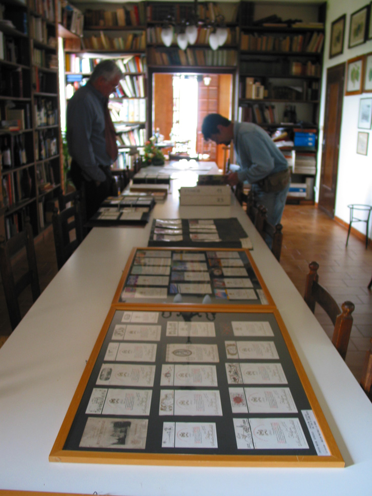 Martinelli showing some of his 1000 wine labels.