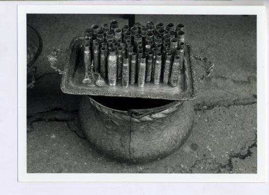 Bullet casings with decorative tooling being sold as trinkets.