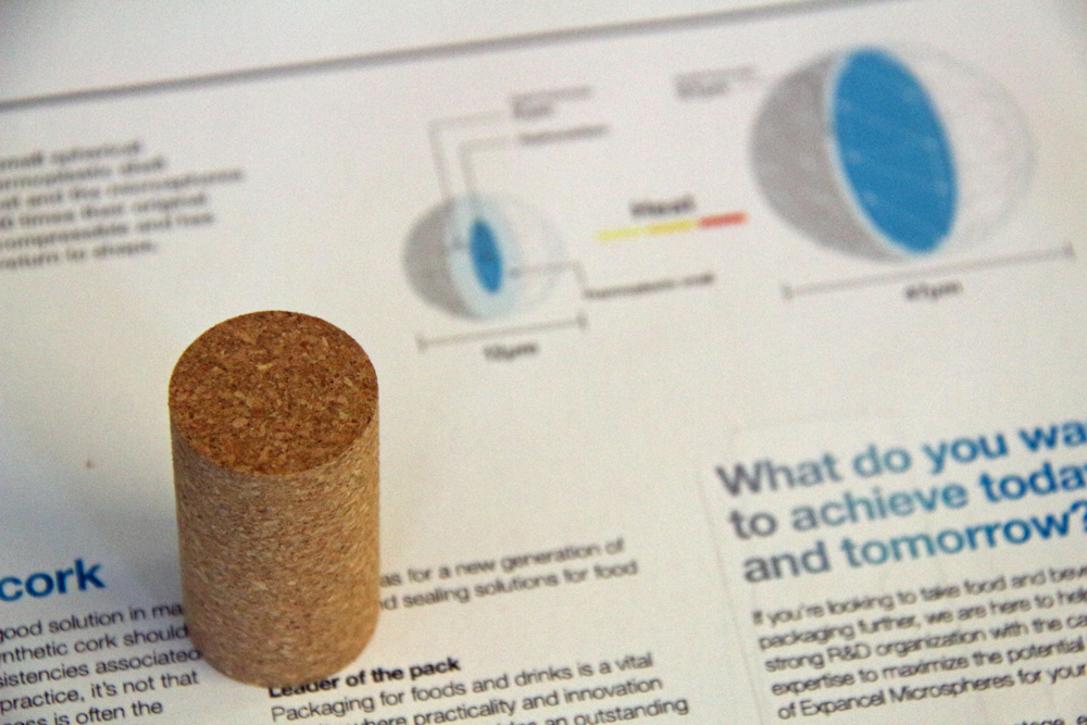 The new frontier:plasto-thermic microspheres inside micro-agglomerated cork-grain stoppers