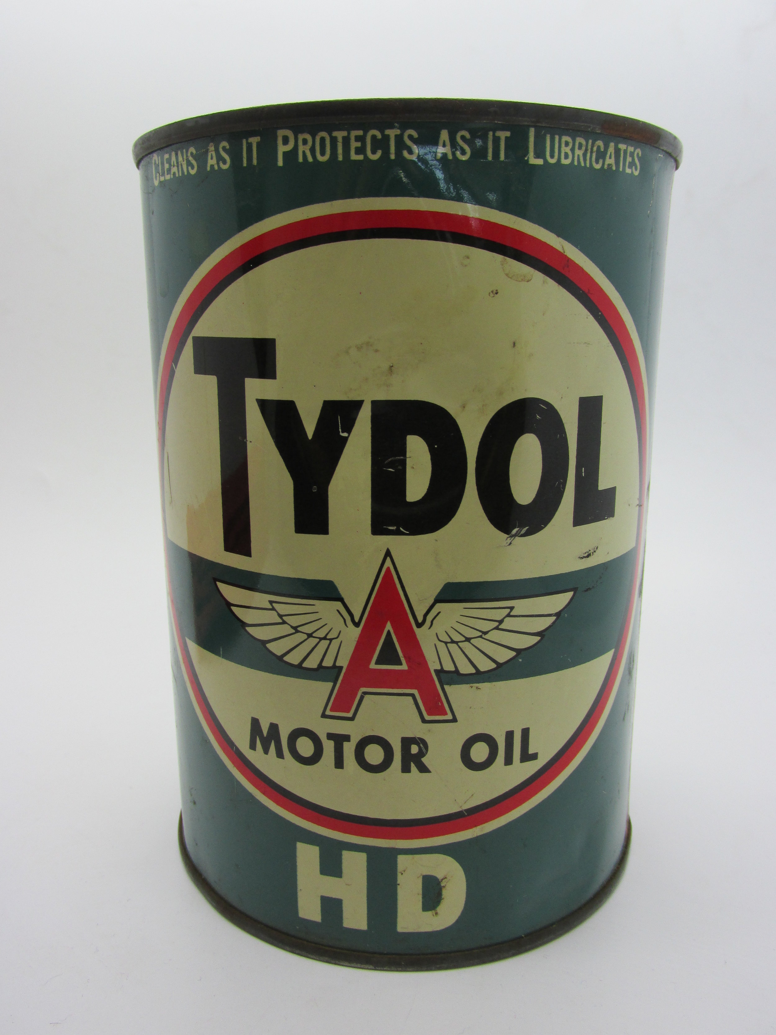 Lets do the CAN CAN! - Look at this vintage beauty! You never see an old oil can like this in such great condition. The Texas Company was launched in 1909 when oil was discovered in Texas. In 1911 Texaco Oil began. They have changed their logo over the years in 1936, 1962 and again in 1981. During the early 1950s, they started using the TYDOL trademark in Vermont. This vintage beauty is unopened, with oil still inside. Available on my ebay site - click here to view.