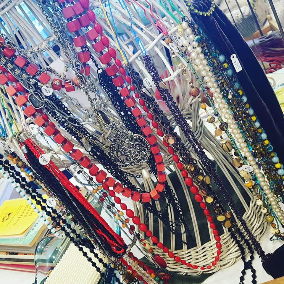 - MARQUIS ETC has a wonderful selection of true vintage jewelry. Pictured here is a nice array of long boho necklaces including beaded, glass, chain, wood, etc. Come see what's new this week at MARQUIS ETC.