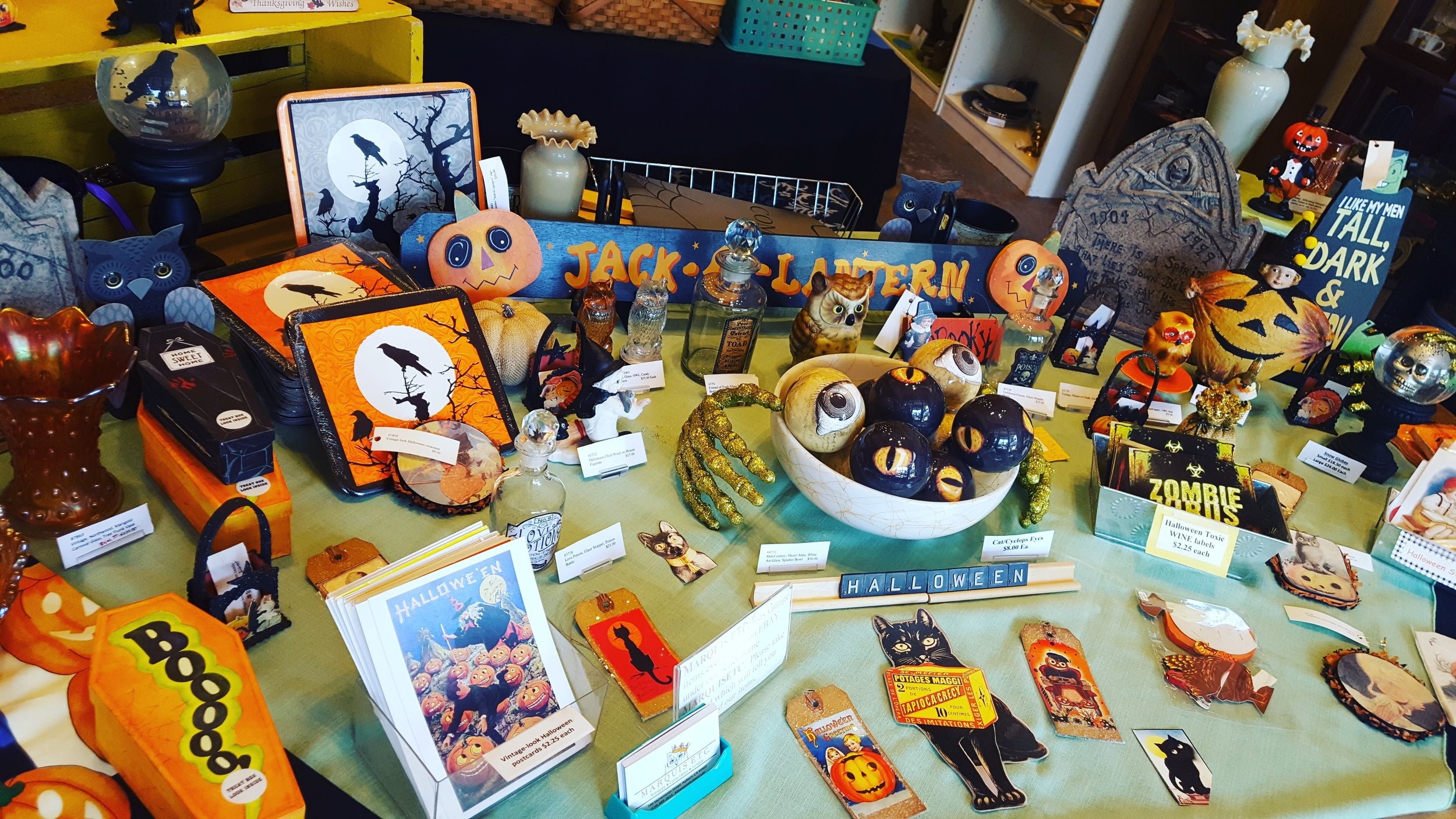 - Fall has arrived at MARQUIS ETC. The shop  has an interesting assortment of vintage and new Halloween and Fall decor.  Come see what's new this week.