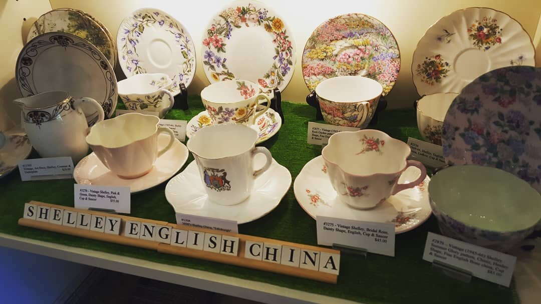 - Marquis Etc has a wonderful array of vintage, SHELLEY, fine English bone china tea cups & saucers. Shelley began in the 1860s and their production peaked in the 1950s. They created tea cups & saucers in a vast selection of beautiful designs. SHELLEY china is really the very best of Staffordshire England Potteries and considered by many to be the best of all bone china. Come see what's new this week.