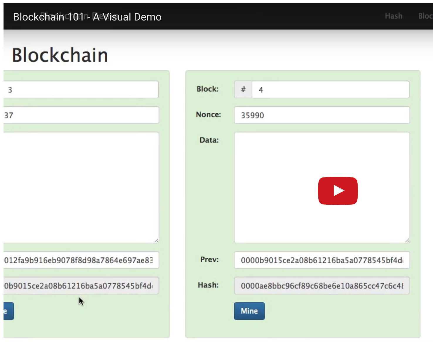 Blockchain visual demo