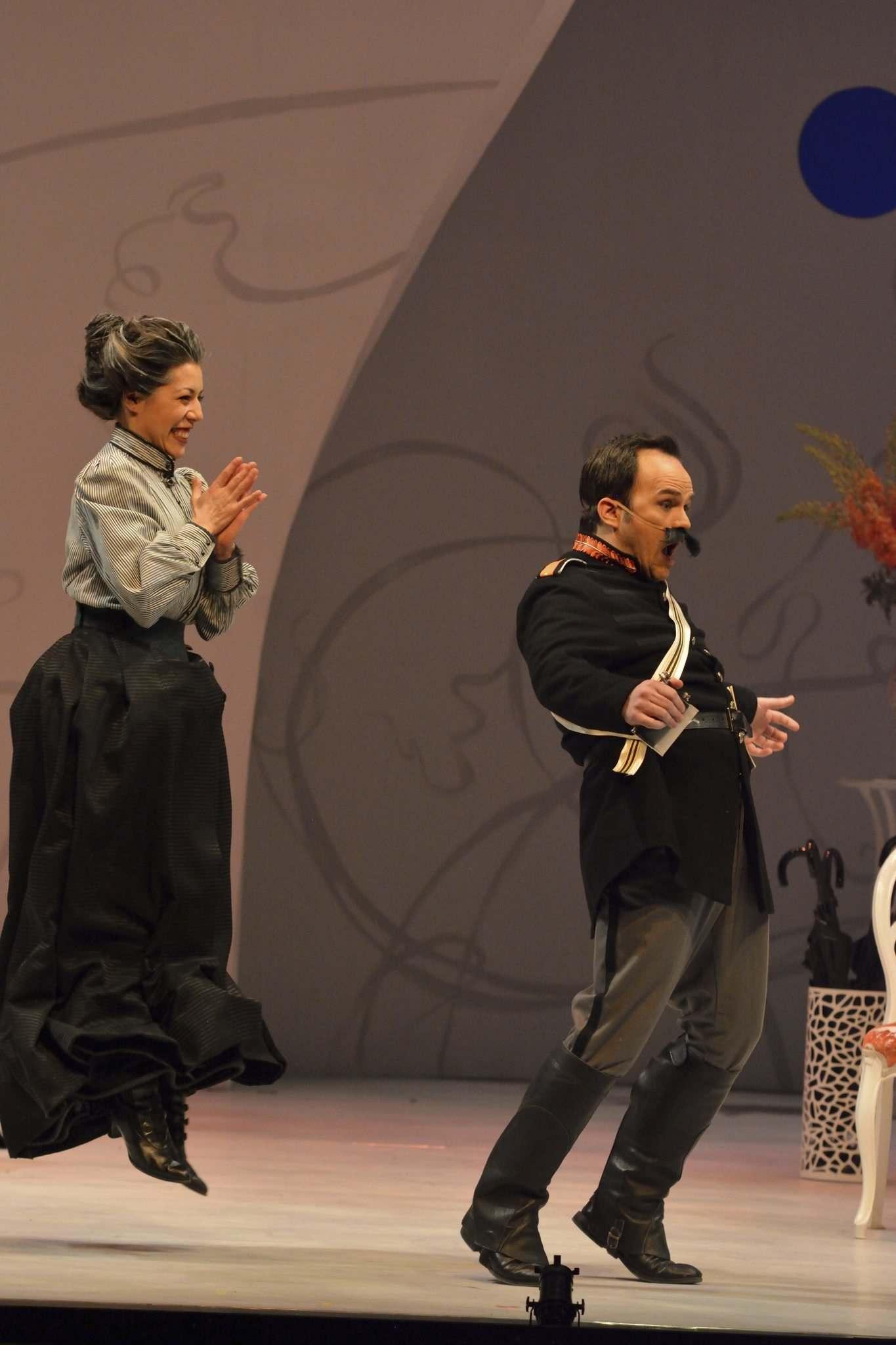 Berta in Manitoba Opera's  Il Barbiere di Siviglia , Andrew Owens as Count Almaviva, Photo Credit R. Tinker