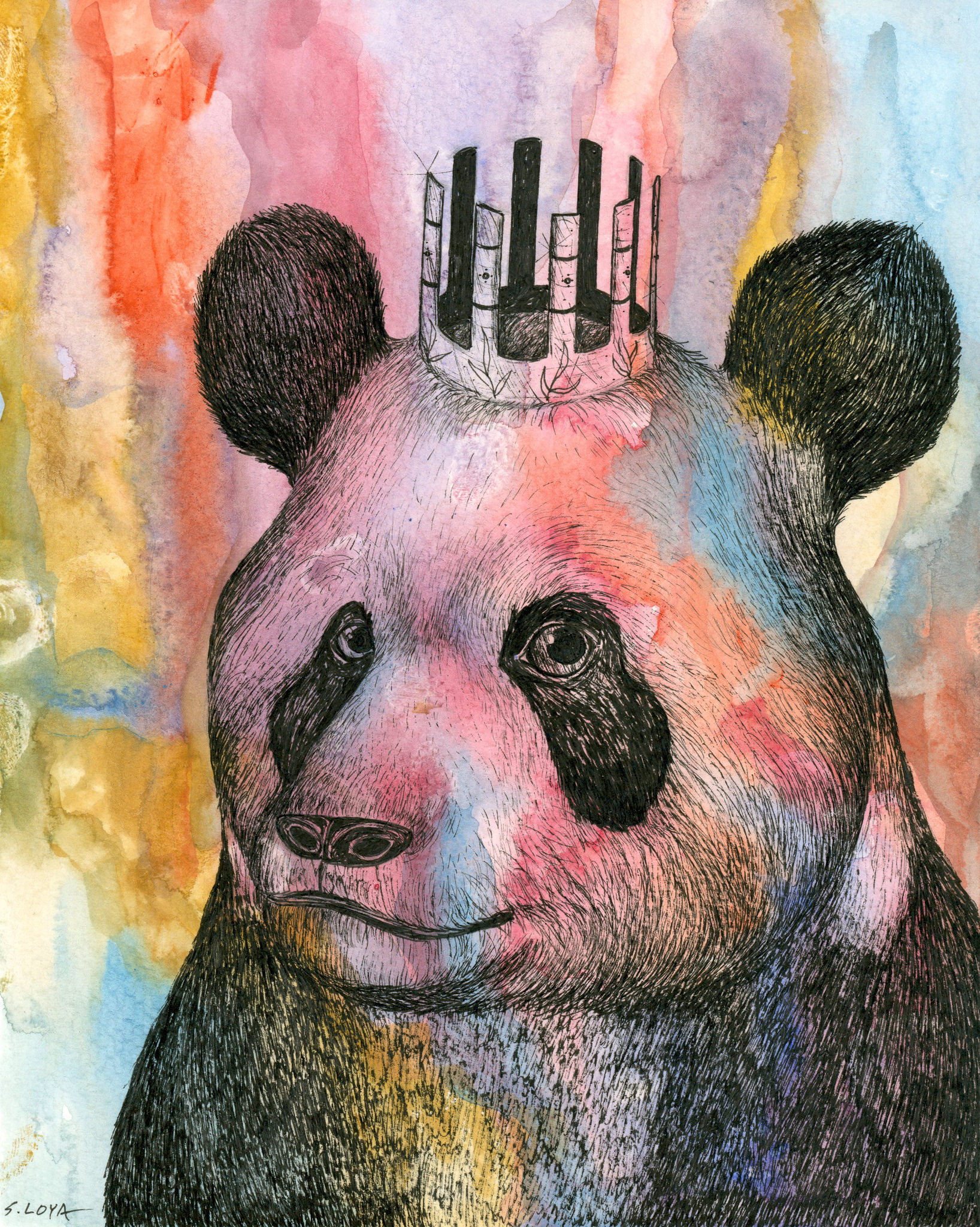 "Endangered Kingdom series: Giant Panda , 10""x8"", watercolor and ink on paper"