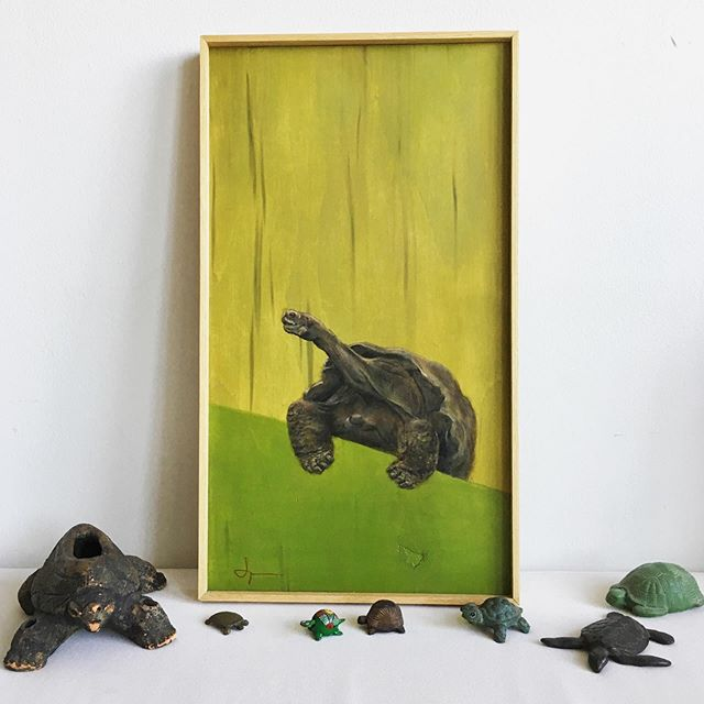 I realized I hadn't posted this painting yet so here it is now with few other turtle-y possessions of mine🐢🐢🐢🐢🐢 Turtles have always guided me ever since I was a kid and have always felt close to me. Go at your own pace, was what my mother always said and still reminds me time to time.