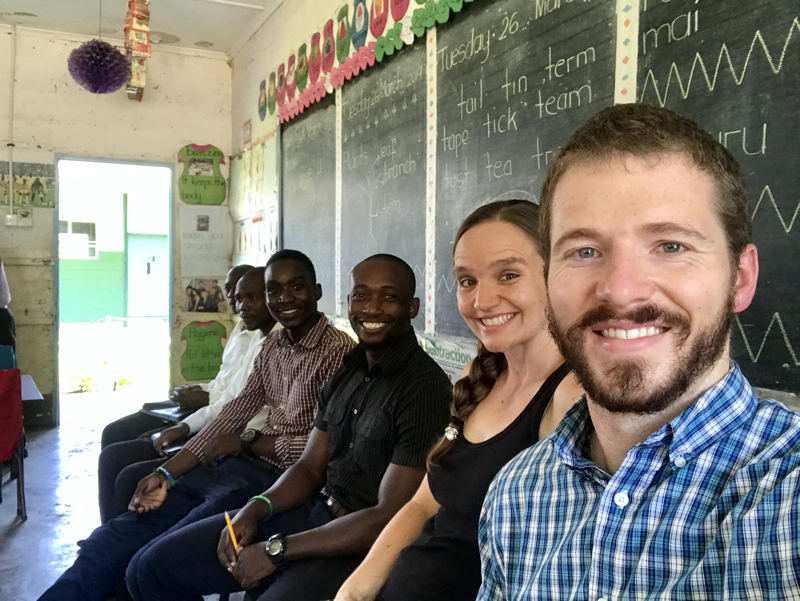 Kudzi, Trevor, Tessa, and Nathan at a teaching training Seminar at Chishamiso Primary School