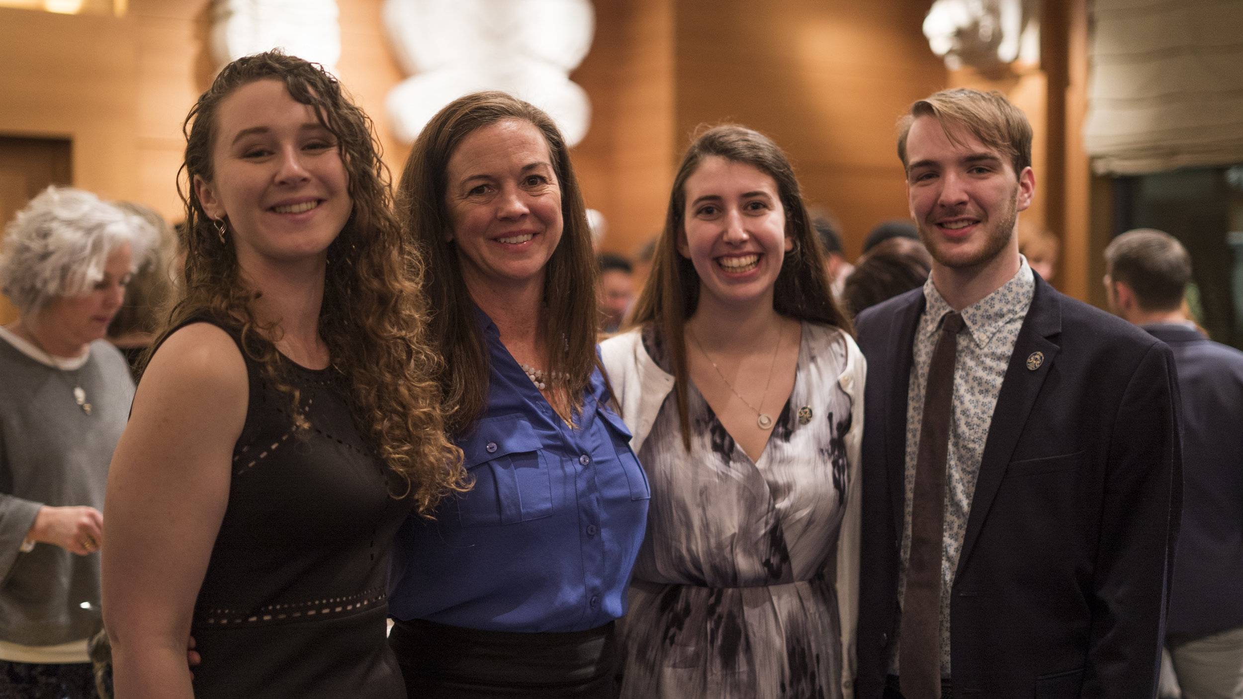 CBSC Fellows Named to 100 Senior Honorary - Three CBSC Fellows were named to Emory's 100 Senior Honorary for the 2019 graduating class. Pictured at the January 22nd, 2019 Induction ceremony Reception from left are Samantha Flaugher (CBSC 2018), Kate Grace (CBSC Director), Maya Bornstein (CBSC 2017), and David Nifong (CBSC 2018).