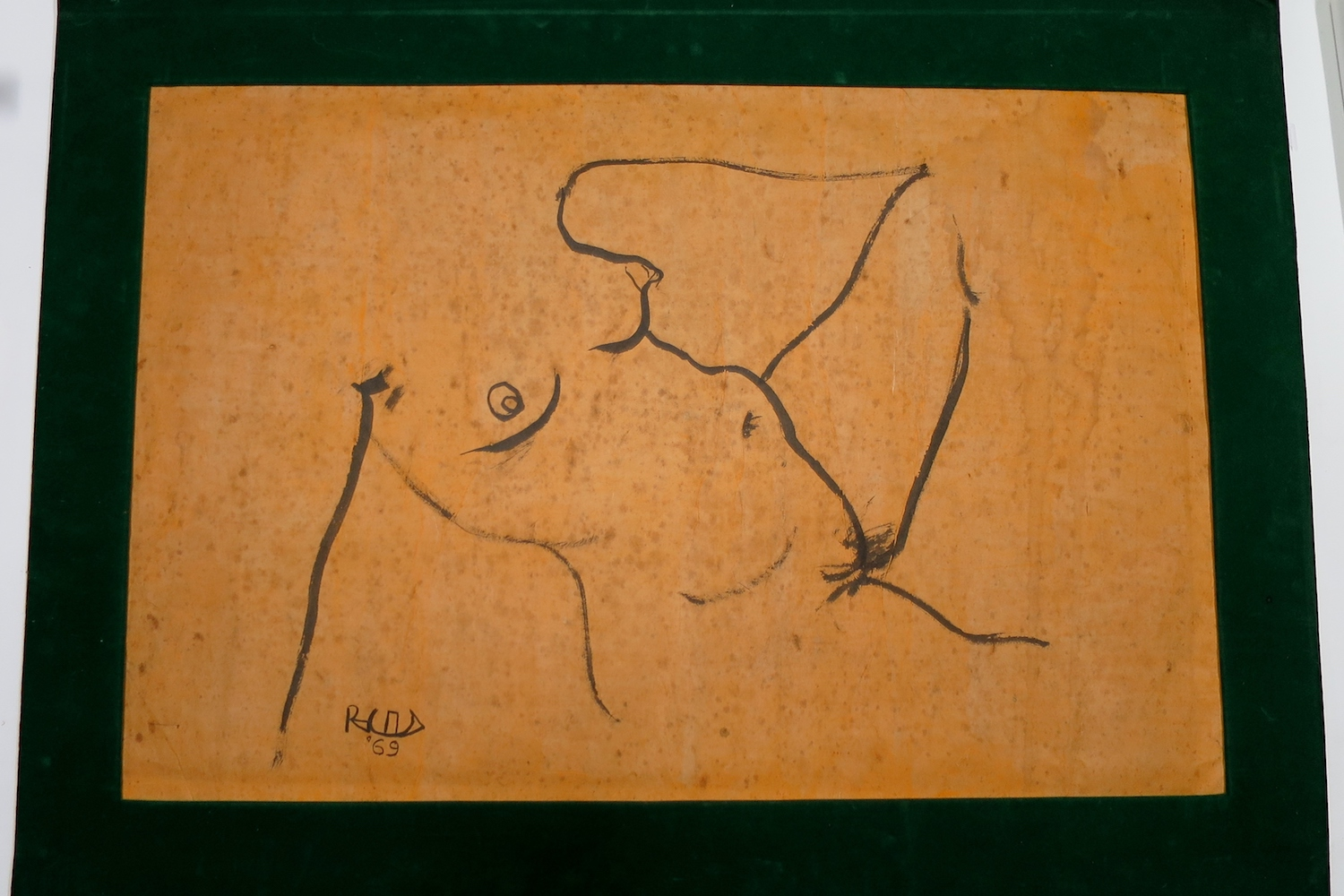 Nude  (1969) by Alfredo 'Ding' Reyes Roces, ink brush drawing on 'rice paper'. Image courtesy of the National Museum, Philippines. Photo by Emily Keppel.