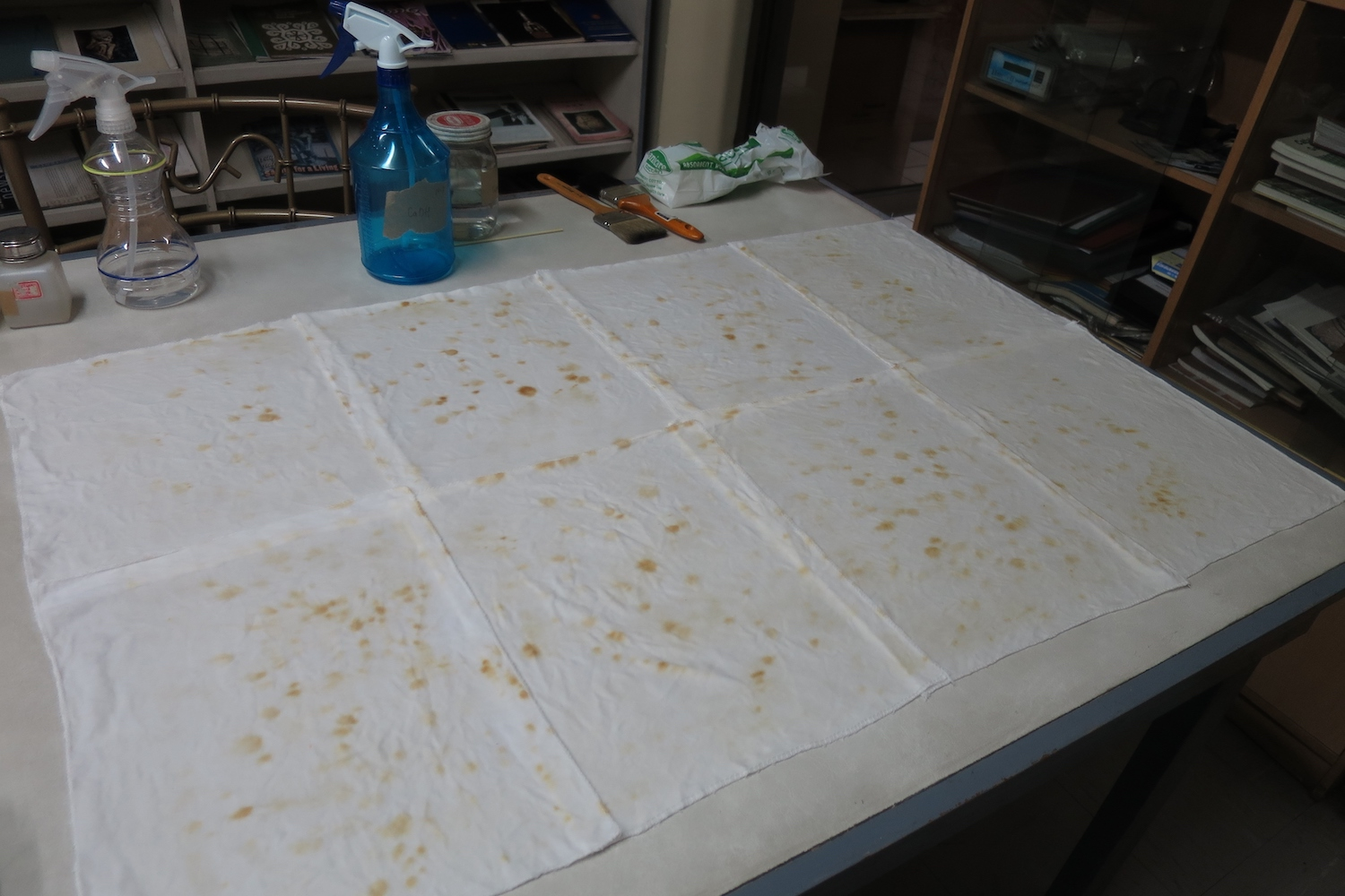 Photo showing water-soluble discolouration product removed from the artwork through capillary washing. Image courtesy of the National Museum, Philippines. Photo by Emily Keppel.