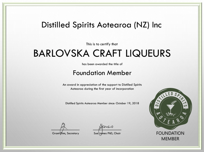 DSA Foundation full membership Barlovska Craft Liqueurs.PNG