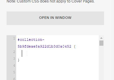 collection id in the Squarespace custom css window