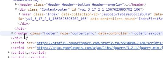 Squarespace Footer tag